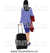 Royalty Free Stock Illustration of a Rear View of a Traveling Businesswoman by Leonid