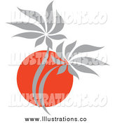 Royalty Free Stock Illustration of a Red and Gray Asian Palm Tree by Elena