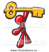 Royalty Free Stock Illustration of a Red Businessman Holding up a Large Golden Skeleton Key by Leo Blanchette