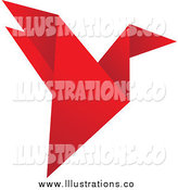 Royalty Free Stock Illustration of a Red Flying Origami Bird by Eugene