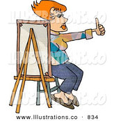 Royalty Free Stock Illustration of a Red Haired Female Painter Sitting Behind a Canvas While Holding Her Thumb up by Djart