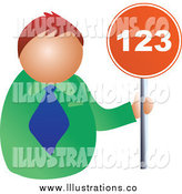 Royalty Free Stock Illustration of a Red Haired White Businessman Holding a 123 Sign by Prawny