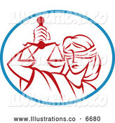 Royalty Free Stock Illustration of a Red Legal Blind Justice and Scales in a Blue Oval by Patrimonio