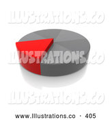 November 11th, 2013: Royalty Free Stock Illustration of a Red Pie Piece Growing Taller Than the Other Pieces by 3poD