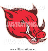 Royalty Free Stock Illustration of a Red Razorback Pig by Patrimonio