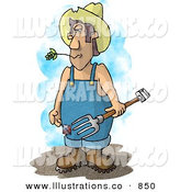 Royalty Free Stock Illustration of a Redneck Farmer with a Pitchfork Wearing Coveralls and a Cowboy Hat by Djart