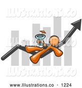 Royalty Free Stock Illustration of a Relaxing Orange Business Owner Man Relaxing on an Increase Bar and Drinking, Finally Taking a Break by Leo Blanchette