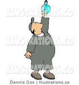 Royalty Free Stock Illustration of a Repairman Installing a New Lightbulb in the Ceiling by Djart