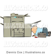 Royalty Free Stock Illustration of a Repairman Looking Inside a Broken Copy Machine by Djart