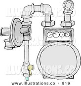 Royalty Free Stock Illustration of a Residential Natural Gas Meter of the Usual Diaphragm Style on White by Dennis Cox