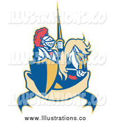 Royalty Free Stock Illustration of a Retro Knight and Steed over a Banner by Patrimonio