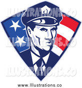 Royalty Free Stock Illustration of a Retro Male Police Officer over an American Triangle by Patrimonio