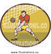 Royalty Free Stock Illustration of a Retro Male Volleyball Player and Net by Patrimonio
