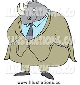 Royalty Free Stock Illustration of a Rhino Businessman in a Suit by Djart