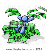 Royalty Free Stock Illustration of a Rich Blue Business Man Jumping in a Pile of Money and Throwing Cash into the Air by Leo Blanchette