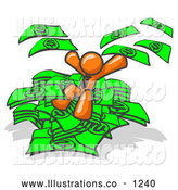 Royalty Free Stock Illustration of a Rich Orange Business Man Jumping in a Pile of Money and Throwing Cash into the Air by Leo Blanchette