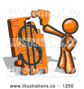 Royalty Free Stock Illustration of a Rich Orange Businessman Putting a Dollar Sign Puzzle Together by Leo Blanchette