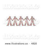 Royalty Free Stock Illustration of a Row of Paper People Clasping Hands by Prawny