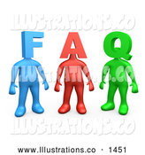 Royalty Free Stock Illustration of a Row of Three Colorful People Figures, One Blue, One Red and One Green, with Heads in the Shape of Letters, Reading FAQ by 3poD