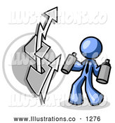 Royalty Free Stock Illustration of a Rude Blue Business Man Spray Painting a Graffiti Dollar Sign on a Wall by Leo Blanchette