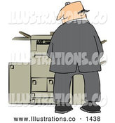 Royalty Free Stock Illustration of a Rude Mischievous Caucasian Businessman Urinating on a Copier Machine in an Office and Looking Back over His Shoulder by Djart