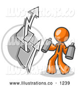 Royalty Free Stock Illustration of a Rude Orange Business Man Spray Painting a Graffiti Dollar Sign on a Wall by Leo Blanchette