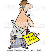 Royalty Free Stock Illustration of a Sad and Depressed Business Man Wearing a for Sale Sign Around His Neck by Toonaday