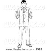 Royalty Free Stock Illustration of a Satisified Smiling Customer or Boss Smiling and Giving Two Thumbs up by AtStockIllustration