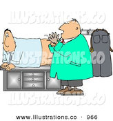 Royalty Free Stock Illustration of a Scared and Worried White Man Getting His First Prostate Exam by Djart