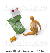 Royalty Free Stock Illustration of a Scared Businessman on the Floor, Being Stared at by a Paperwork Monster from a Filing Cabinet by 3poD
