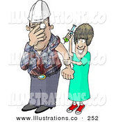 Royalty Free Stock Illustration of a Scared Worker Man with Trypanophobia Getting a Flu Shot from a Nurse by Dennis Cox