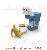 Royalty Free Stock Illustration of a Scary Paperwork Monster Emerging from a Messy Filing Cabinet, Scaring a Businessman by 3poD