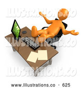 Royalty Free Stock Illustration of a Selfish Lazy Orange Employee or Manager Slacking While Leaning Back in Their Chair at a Computer Desk, with Their Feet up on the Table Top by 3poD
