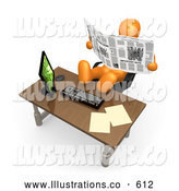 Royalty Free Stock Illustration of a Selfish Lazy Orange Employee or Manager Slacking While Leaning Back in Their Chair with Their Feet up on a Computer Desk, and Reading a Newspaper Instead of Working by 3poD