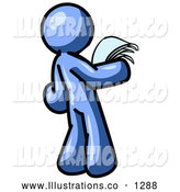 Royalty Free Stock Illustration of a Serious Blue Man Reading Office Papers and Documents by Leo Blanchette