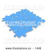 Royalty Free Stock Illustration of a Set of Blue Puzzle Pieces Connected Together, Symbolizing Teamwork and Linking by 3poD