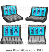 Royalty Free Stock Illustration of a Set of Four Laptop Computers with Three Blue Men on Each Screen by Leo Blanchette