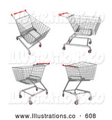Royalty Free Stock Illustration of a Set of Four Metal Store Shopping Carts in 3D by 3poD