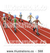 Royalty Free Stock Illustration of a Set of People on a Track While Racing for a Job Opportunity by 3poD
