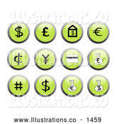 November 13th, 2013: Royalty Free Stock Illustration of a Set of Shiny Green Financial Icon Buttons with Black and White Icons Including a Dollar Sign, Euro Sign, and Money Bags by Rasmussen Images