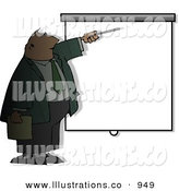 Royalty Free Stock Illustration of a Shadowed Businessman Giving Slideshow Presentation by Djart