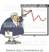 Royalty Free Stock Illustration of a Sheep Business Man Person Pointing at a Graph Which Demonstrates a Drop by Djart