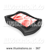 November 11th, 2013: Royalty Free Stock Illustration of a Shiny Black Handheld Organizer with a Red Screen Saver by 3poD