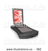 November 11th, 2013: Royalty Free Stock Illustration of a Shiny Black Pda Computer with a Small Keyboard and a Red Screen Saver by 3poD