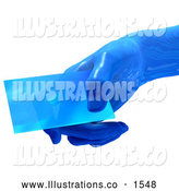 Royalty Free Stock Illustration of a Shiny Blue Glass Futuristic Hand Holding a Blank Business Card, over a White Background by Tonis Pan