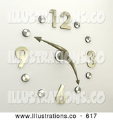 Royalty Free Stock Illustration of a Shiny Chrome or Silver Office Wall Clock with the Hands Pointing at 10 Minutes to 5pm by 3poD