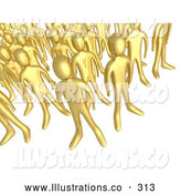 Royalty Free Stock Illustration of a Shiny Crowd of Gold People Standing Together, Symbolizing Teamwork and Unity by 3poD