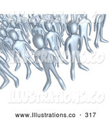 Royalty Free Stock Illustration of a Shiny Crowd of Silver People Standing Together, Symbolizing Teamwork and Unity by 3poD