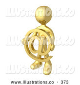 Royalty Free Stock Illustration of a Shiny Gold Person Holding a Golden at Symbol in Front of Him by 3poD
