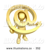 November 11th, 2013: Royalty Free Stock Illustration of a Shiny Gold Person Holding a Golden at Symbol with His Head Peeking Through the Center by 3poD
